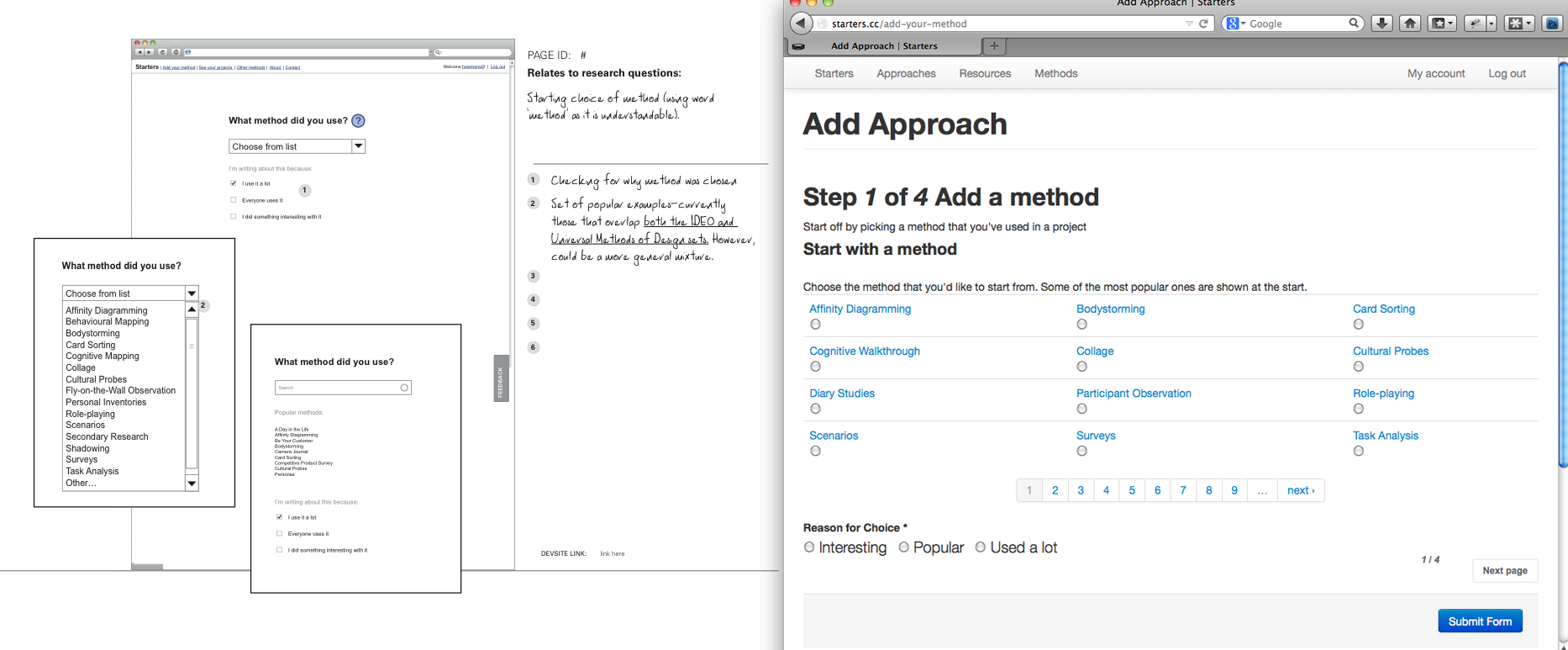Wireframes and development in Drupal